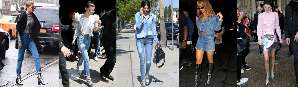 celebrities wearing metallic shoes