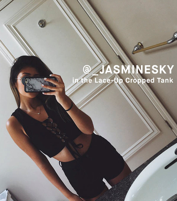 Jasmine Sky in Lace-Up Cropped Tank