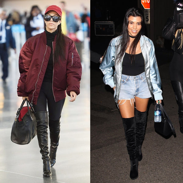 Kourtney Kardashian in bomber jacket inspo