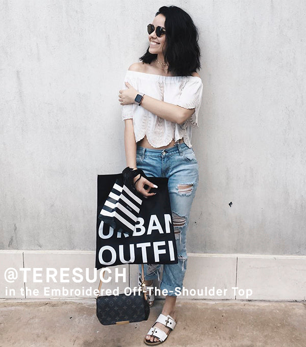 Teresuch in Embroidered Off-The-Shoulder Top