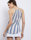 Wrap Around Striped Surplice Tank
