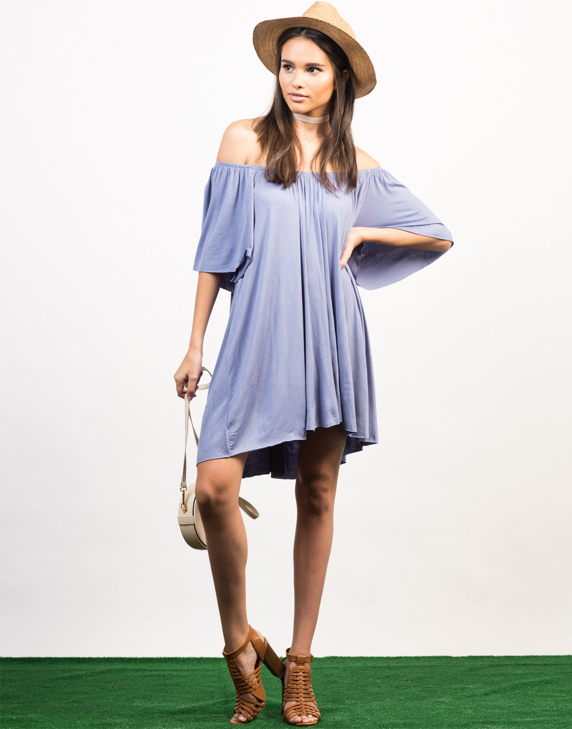 Front View of Off-the-Shoulder Tee Dress