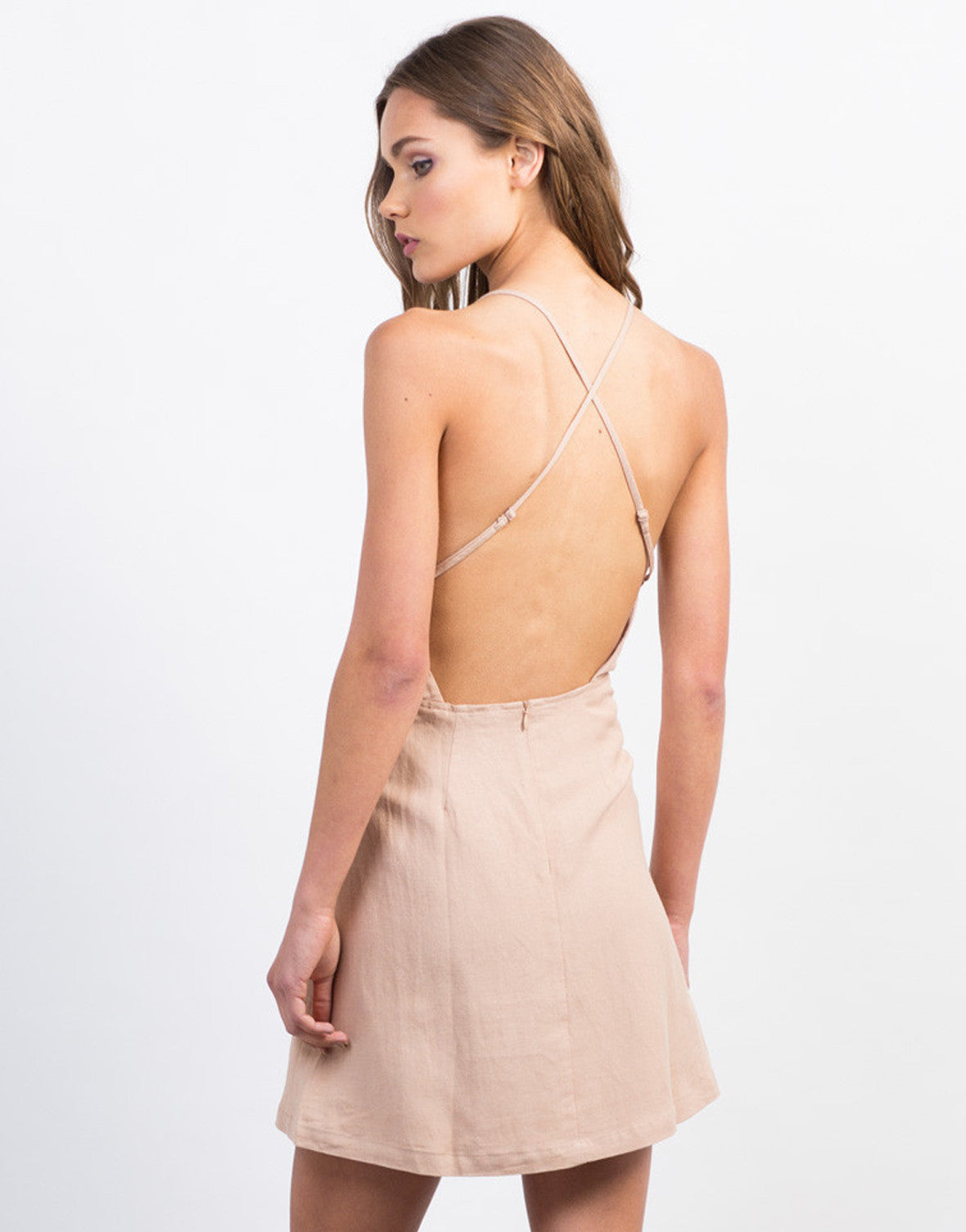 Back View of Strappy Linen Dress