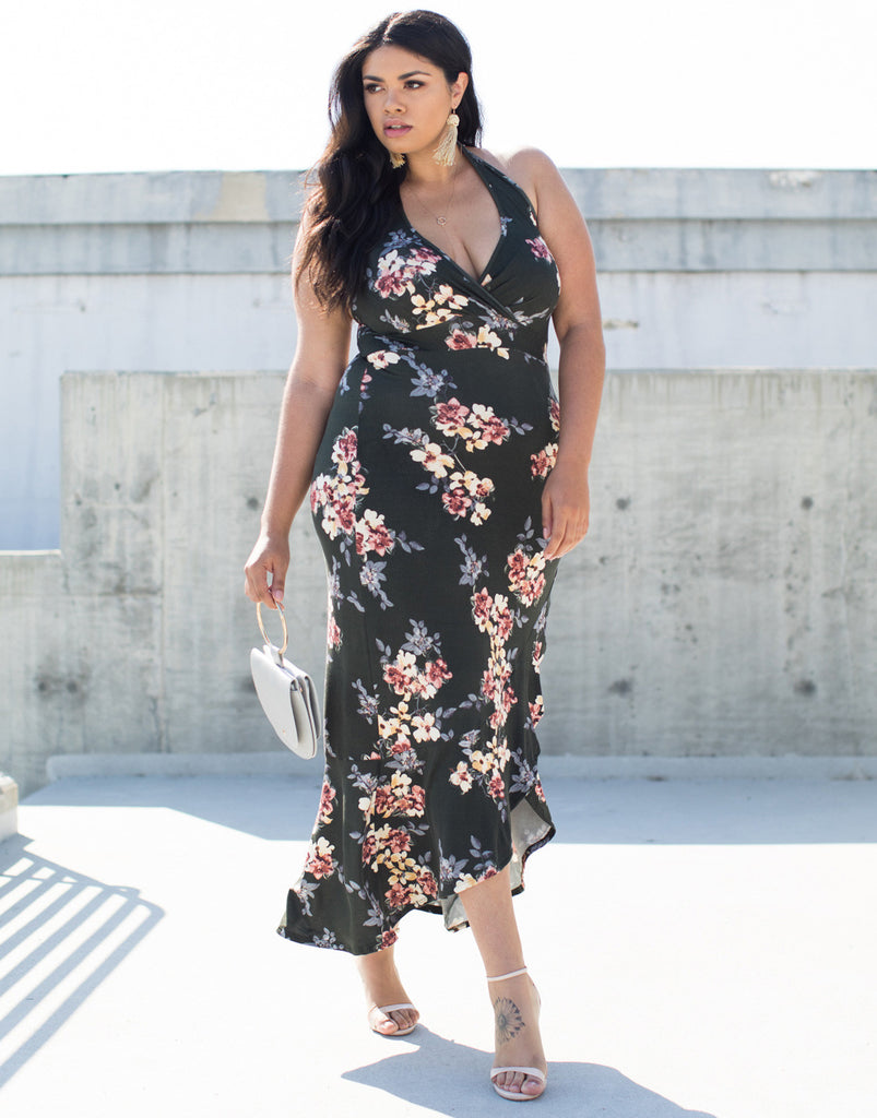 Olive Plus Size Julie Floral Maxi Dress