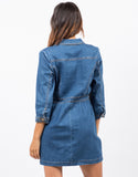 Back View of 3/4 Sleeve Denim Dress