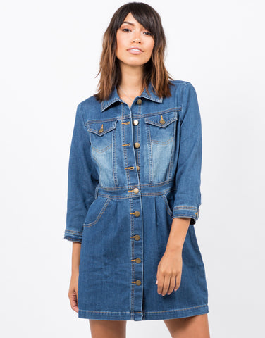 Front View of 3/4 Sleeve Denim Dress