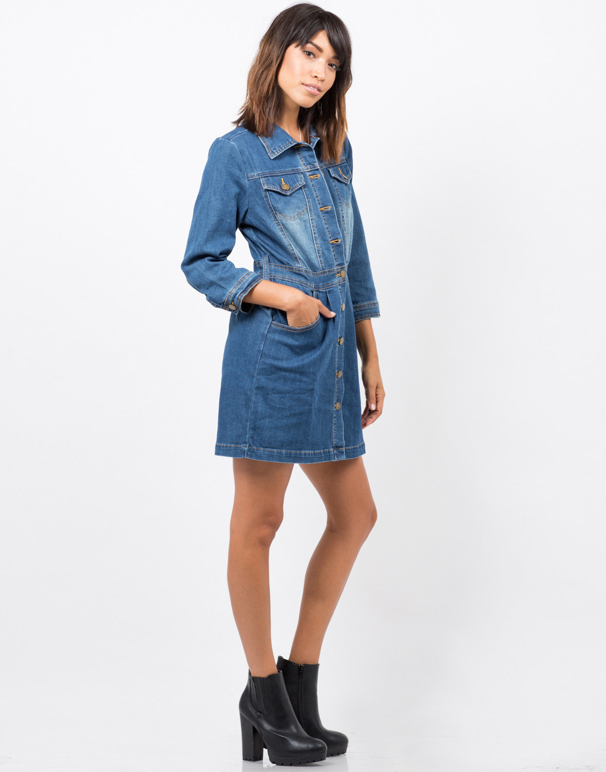 Side View of 3/4 Sleeve Denim Dress