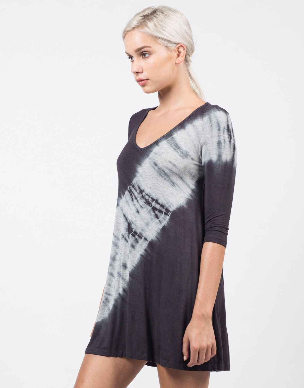 Side View of 3/4 Sleeve Flowy Tie Dye Dress