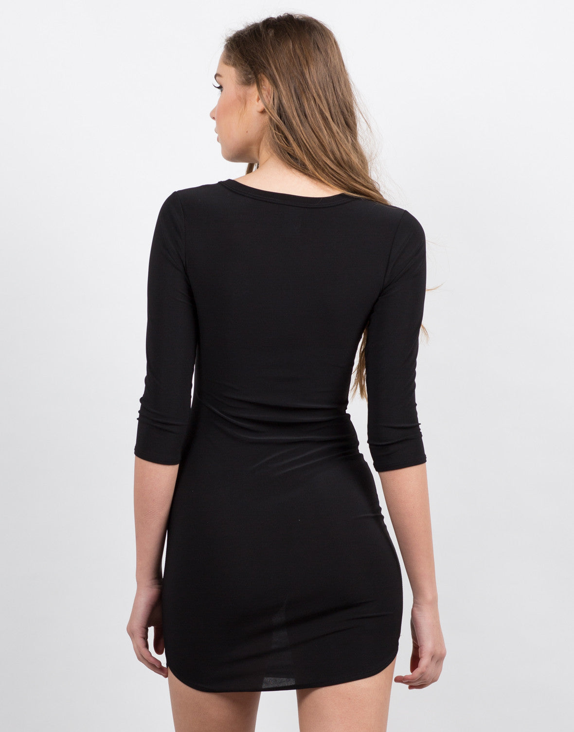 Back View of 3/4 Sleeve Lace Up Dress