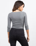 Back View of 3/4 Sleeve Scoopneck Bodysuit