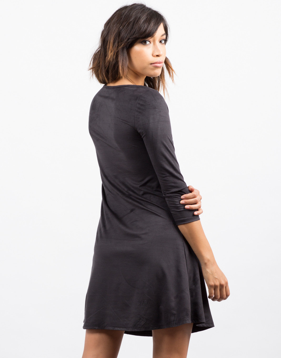 Back View of 3/4 Sleeve Suede Flare Dress