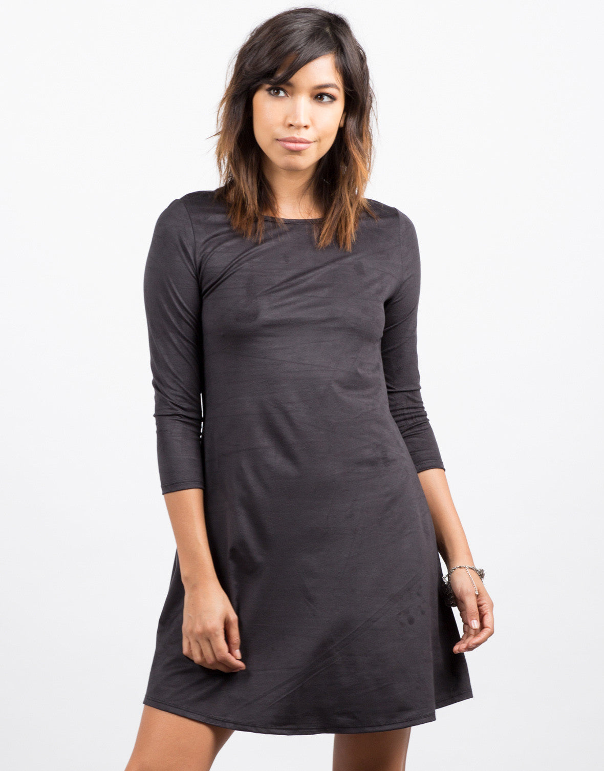 Front View of 3/4 Sleeve Suede Flare Dress