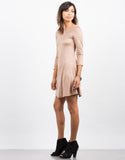 Side View of 3/4 Sleeve Suede Flare Dress