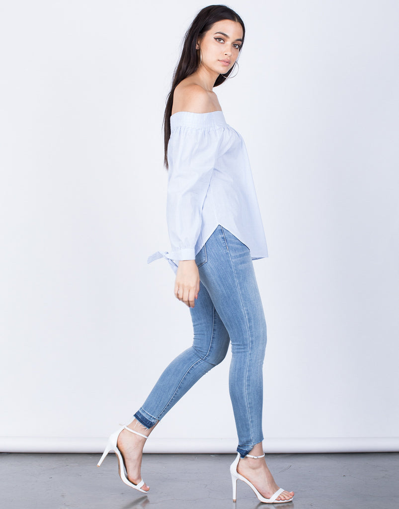 Side View of Pin Striped Off-the-Shoulder Blouse