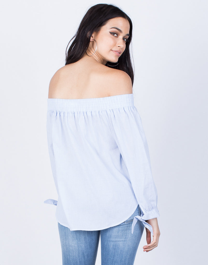 Back View of Pin Striped Off-the-Shoulder Blouse