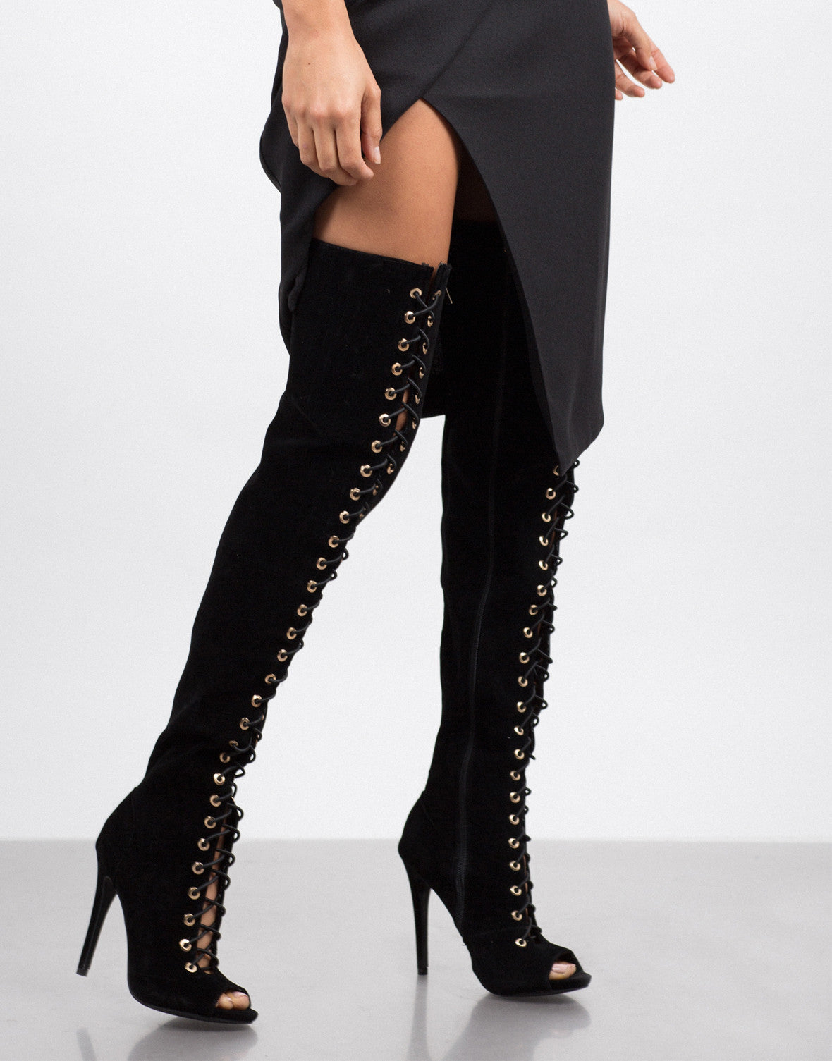 f80a205289a Lace-Up Thigh High Boots - Black Gladiator Heels - Peep Toe – 2020AVE