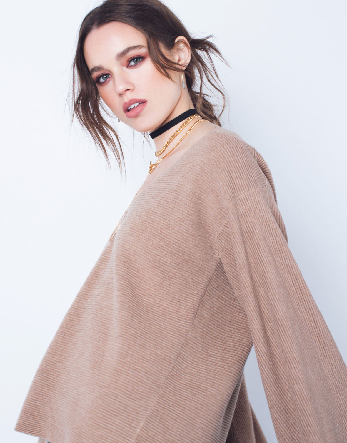 Rib Knit Extreme Sleeves Top