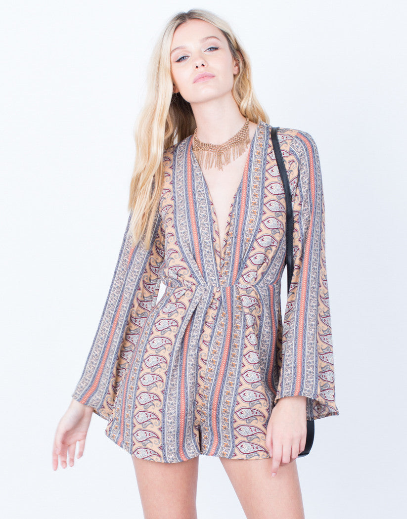 Front View of 70's Paisley Romper
