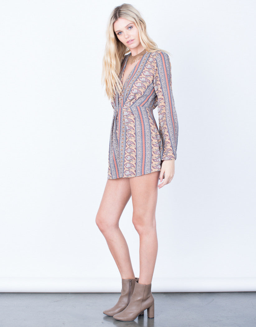 Side View of 70's Paisley Romper