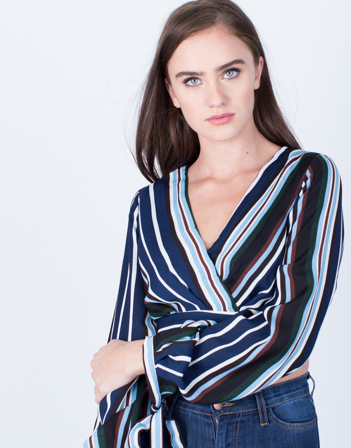 b5466189e7fc9a 70's Striped Crop Top - Navy Stripe Top - Pink Stripe Cropped Blouse ...