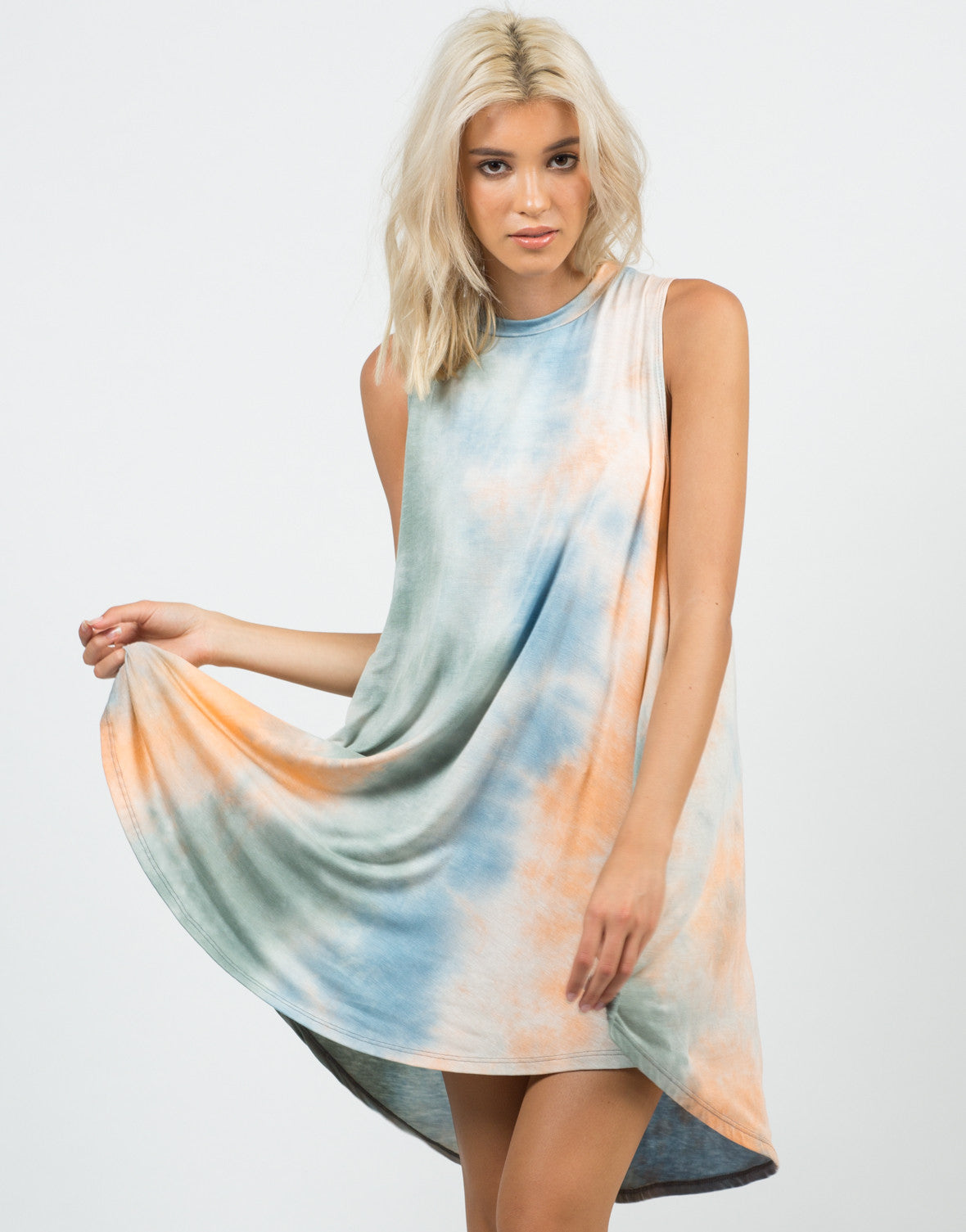 Front View of 70s Tie-Dye Dress