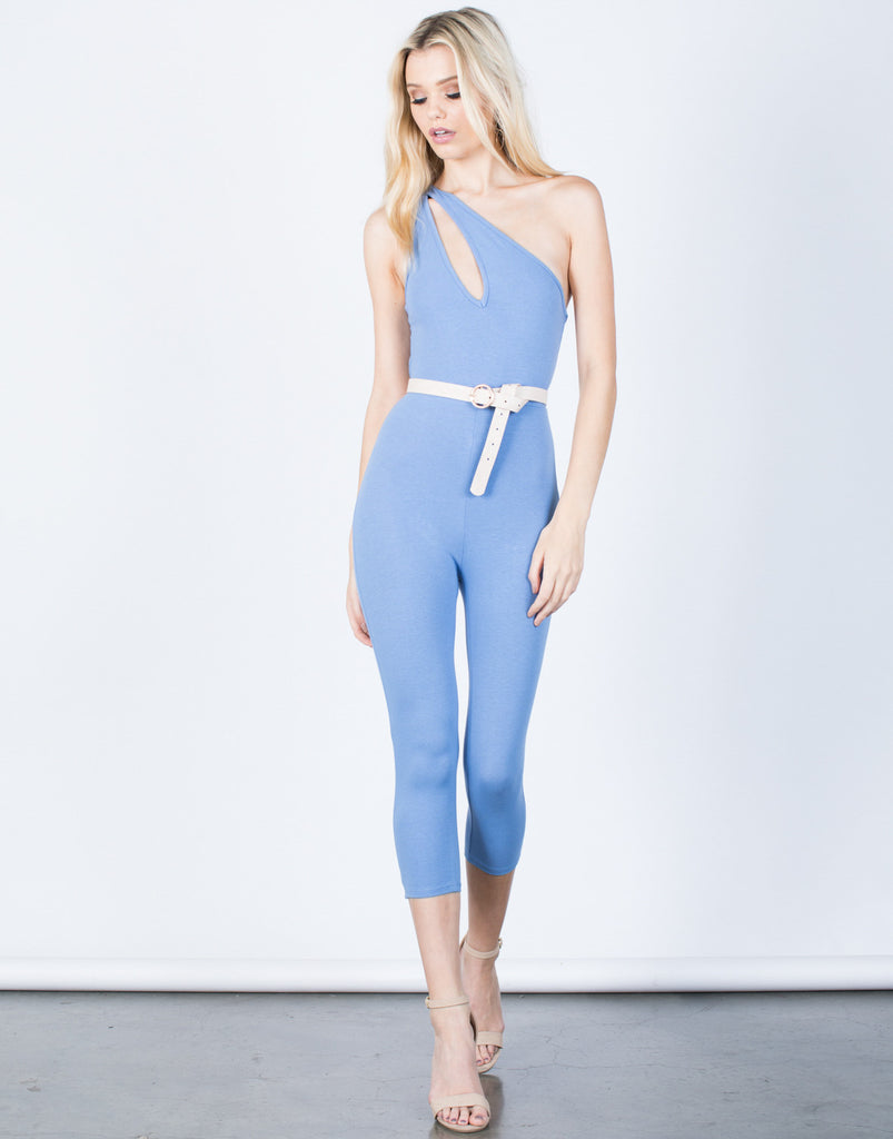 Front View of 80's One Shoulder Jumpsuit