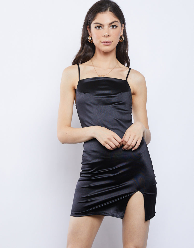 After Hours Silky Mini Dress Dresses Black Small -2020AVE