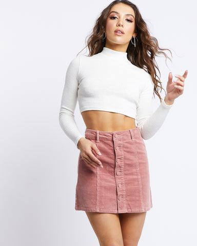 Aileen Button Front Corduroy Skirt