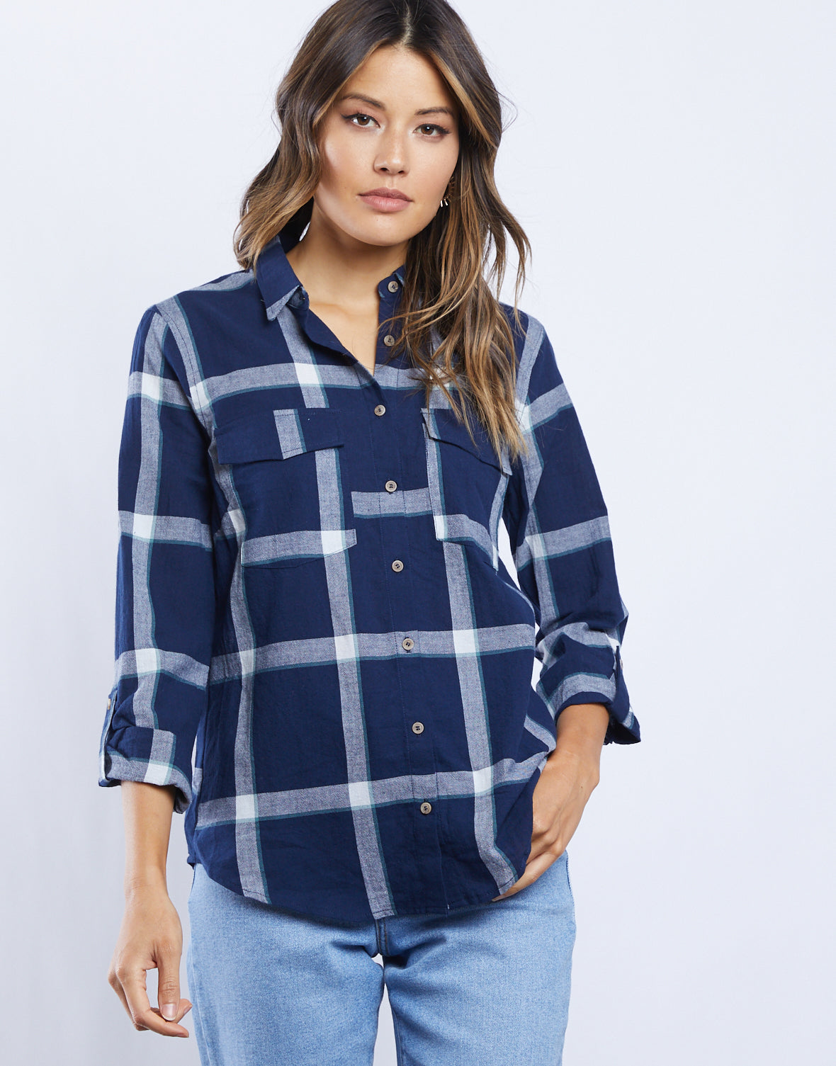 Alex Button Down Plaid Shirt