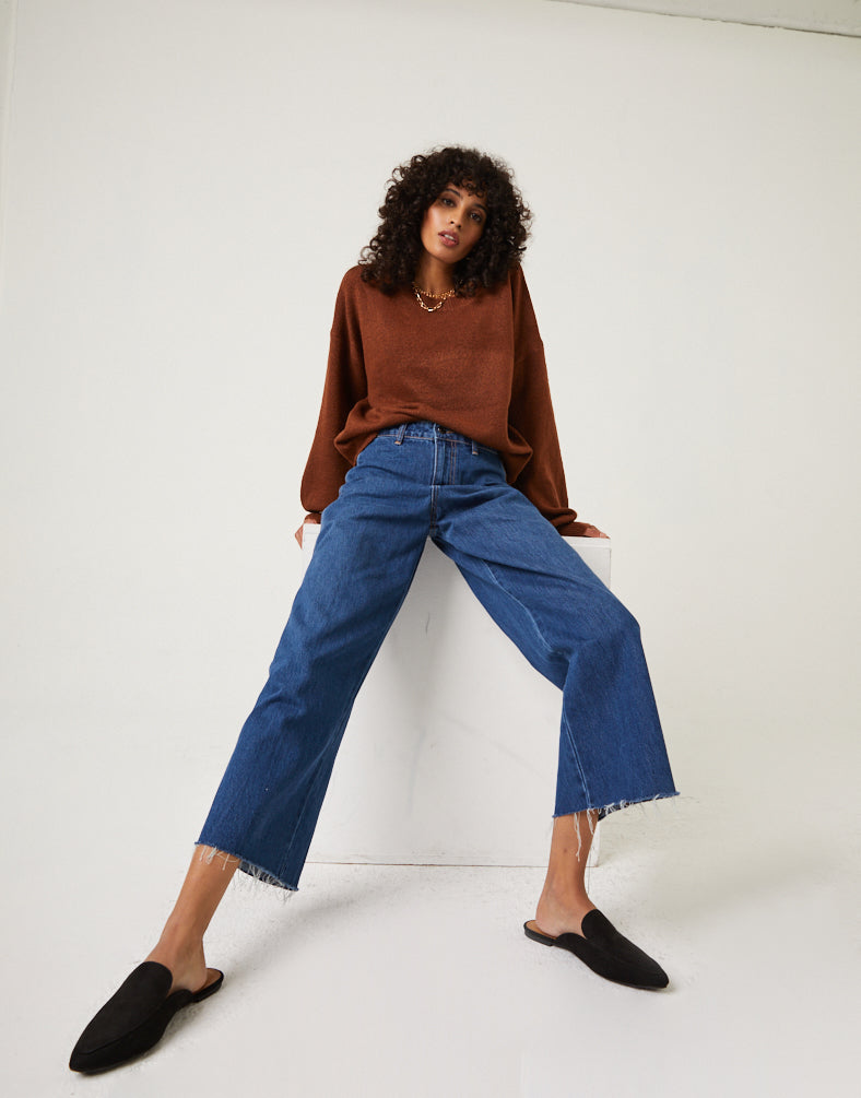Raw Hem Wide Leg Jeans Bottoms -2020AVE