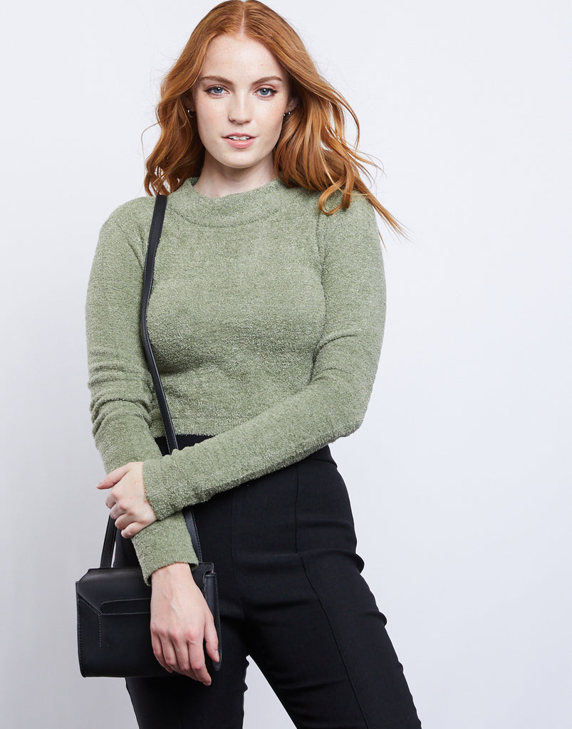 All Yours Fuzzy Sweater Tops Olive Small -2020AVE