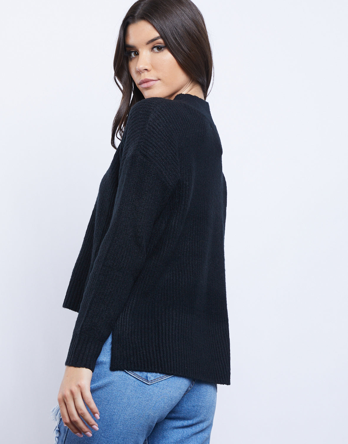 All In Mock Neck Sweater
