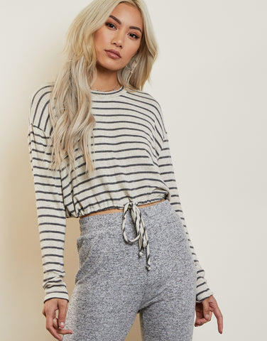 Allie Striped Drawstring Top
