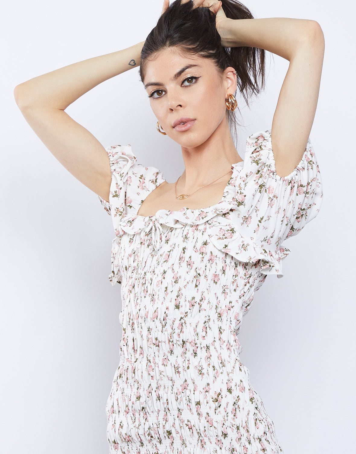 Amelia Floral Smocked Mini Dress