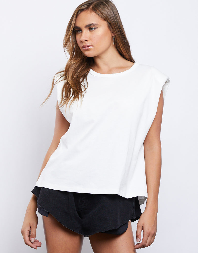 Andie Sleeveless Tee Tops White Small -2020AVE