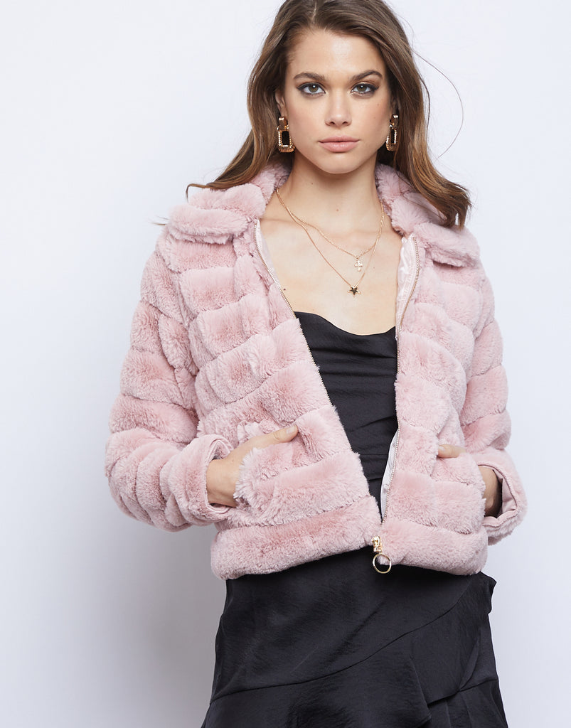 Angelica Fuzzy Puff Jacket Outerwear Blush Small -2020AVE
