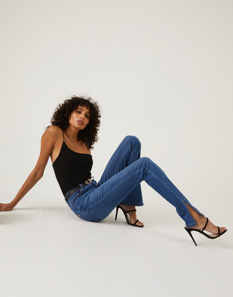 Ankle Slit Jeans Bottoms Medium Blue 1 -2020AVE