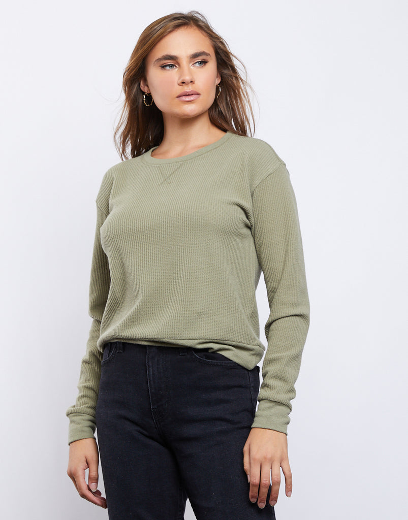Annalise Waffle Knit Top Tops -2020AVE