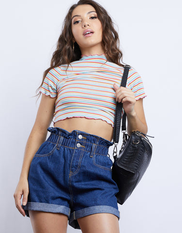 Ari Denim Paper Bag Shorts