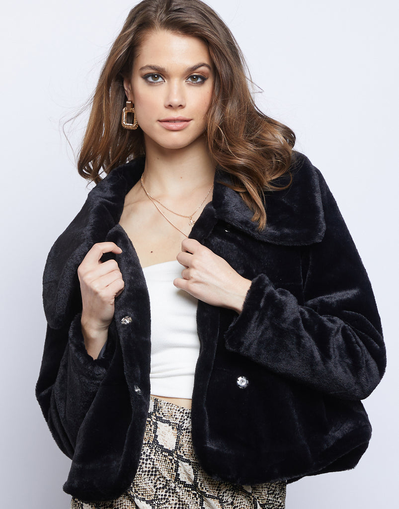 Asymmetrical Fuzzy Jacket Outerwear Black Small -2020AVE