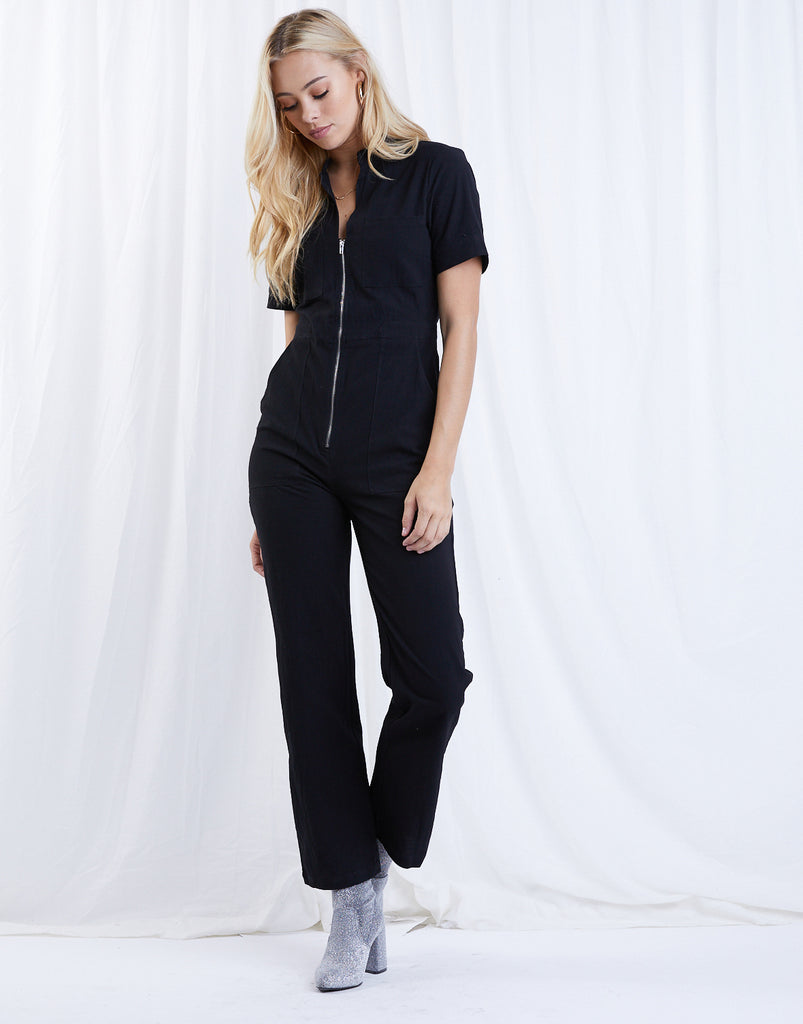At Ease Utility Jumpsuit Rompers + Jumpsuits Black Small -2020AVE
