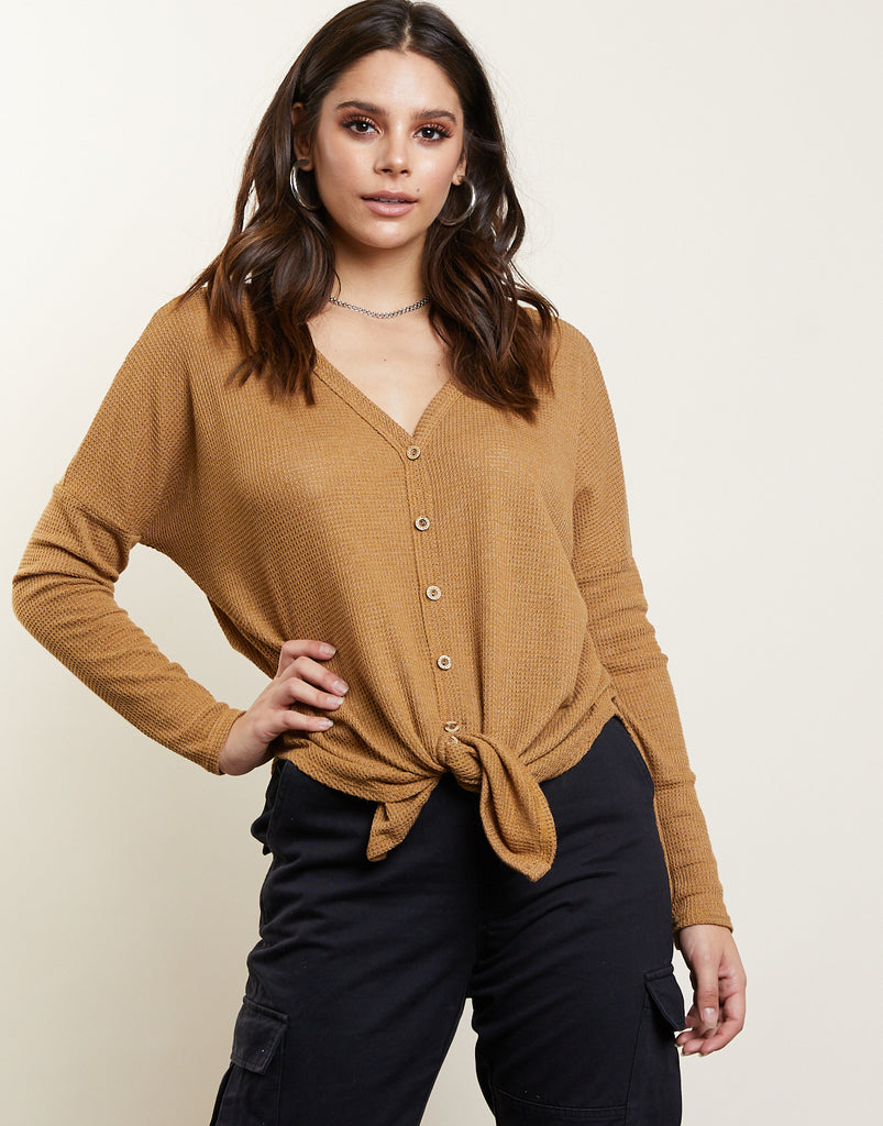 Back To Basics Cardigan Tops Mustard Small -2020AVE