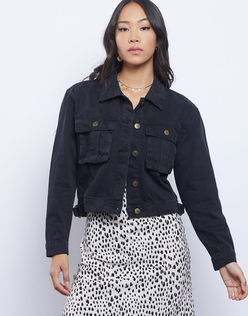 Back To Black Denim Jacket Outerwear Black Small -2020AVE