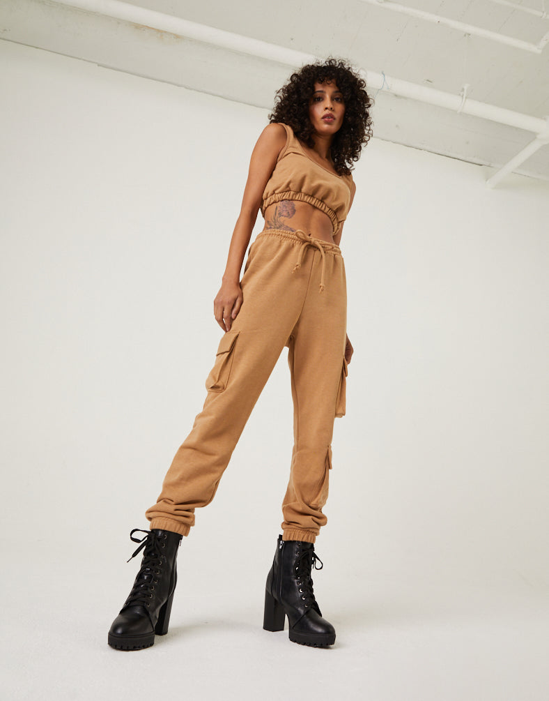 Cargo Joggers and Crop Top Matching Set Matching Sets -2020AVE
