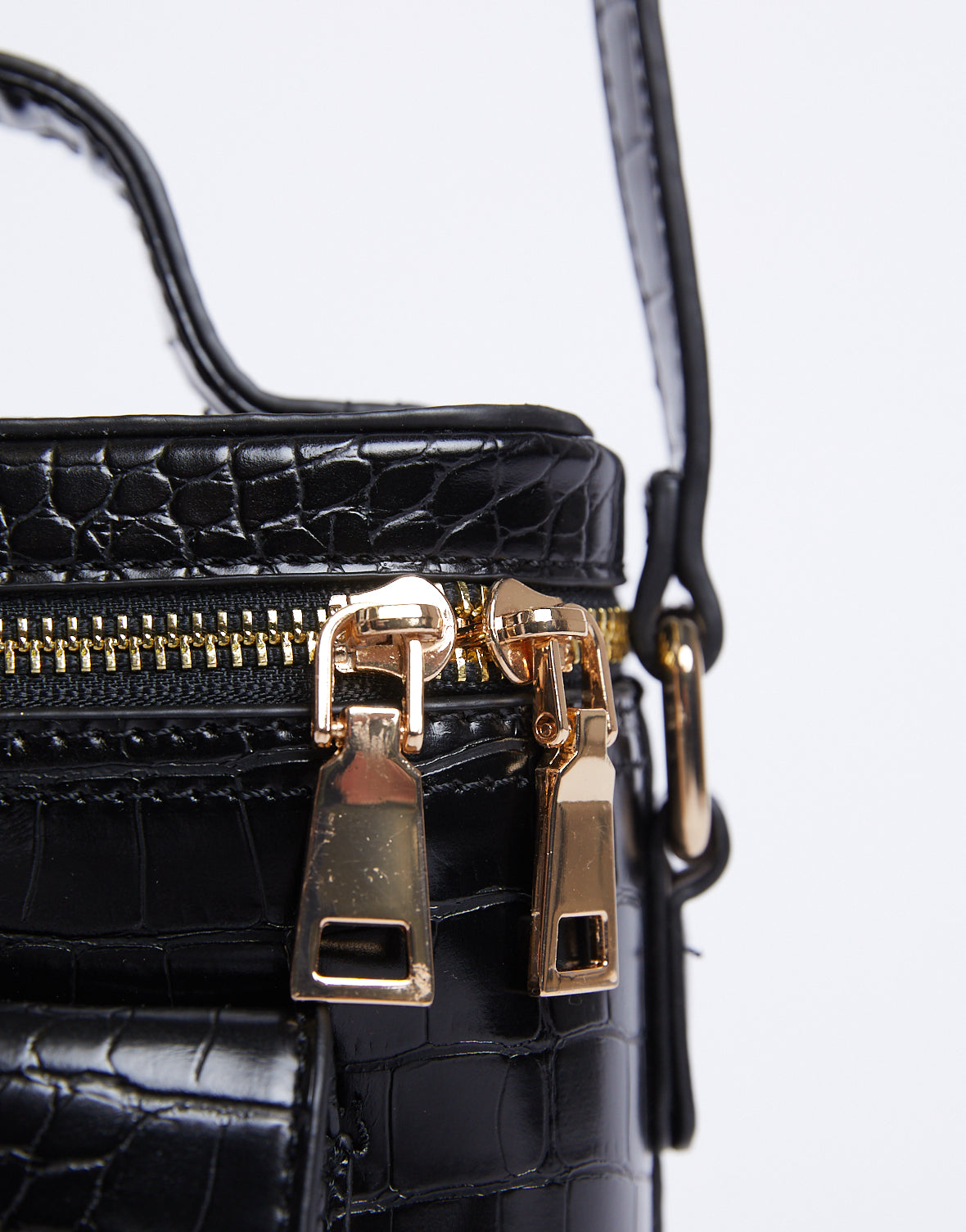 Black Crocodile Mini Crossbody Bag
