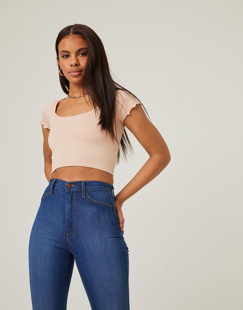 Bodycon Lettuce Edge Crop Top Tops Blush S/M -2020AVE