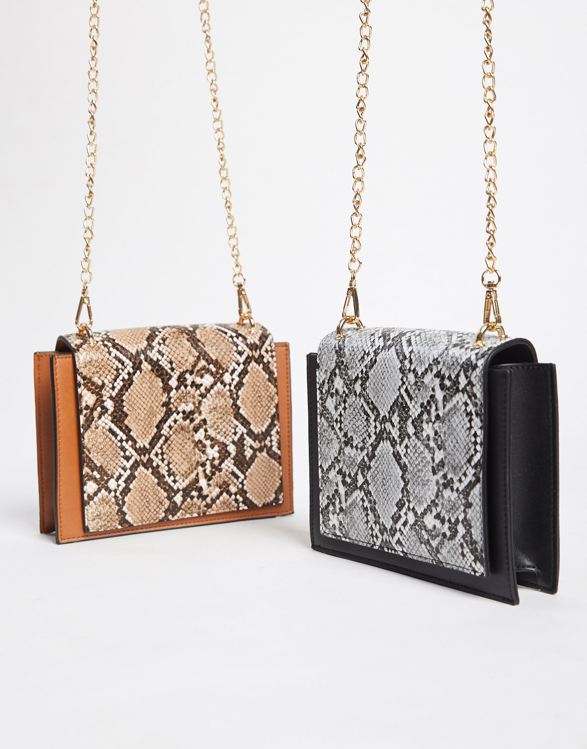 Boxy Snakeskin Shoulder Bag
