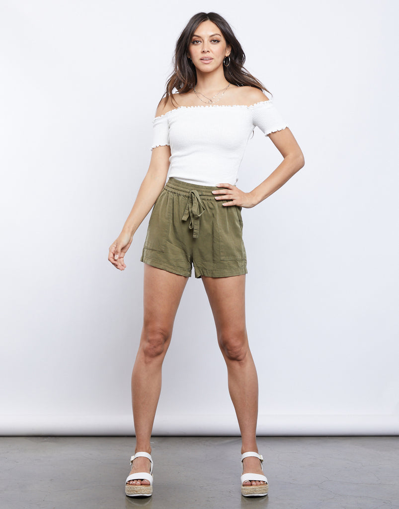 Bree Lettuce Edge Tee Tops Ivory Small -2020AVE