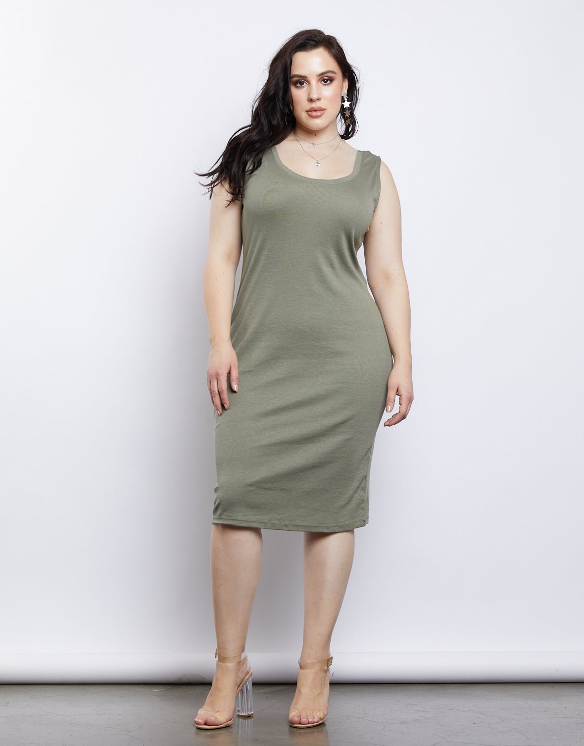 Plus Size California Girl Ribbed Tank Dress