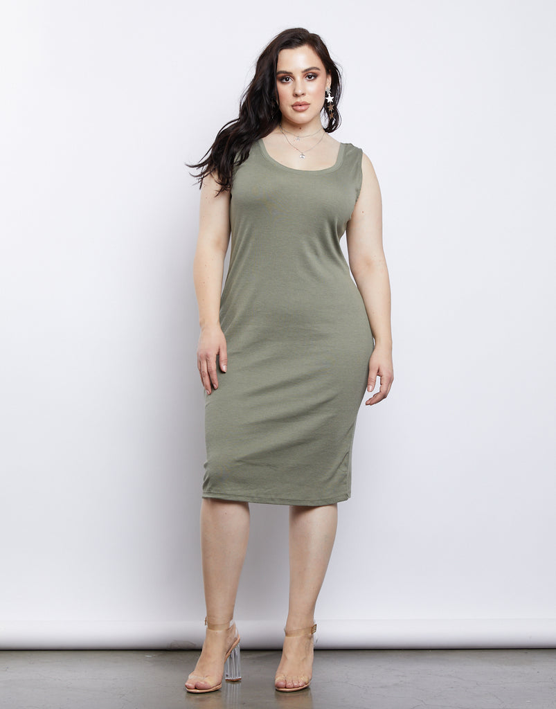 Curve California Girl Ribbed Tank Dress Plus Size Dresses Olive 1XL -2020AVE
